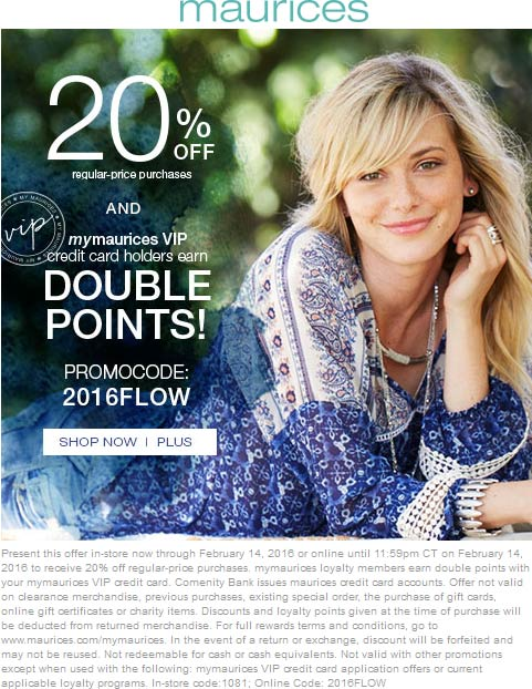 Maurices Coupon November 2018 20% off at Maurices, or online via promo code 2016FLOW