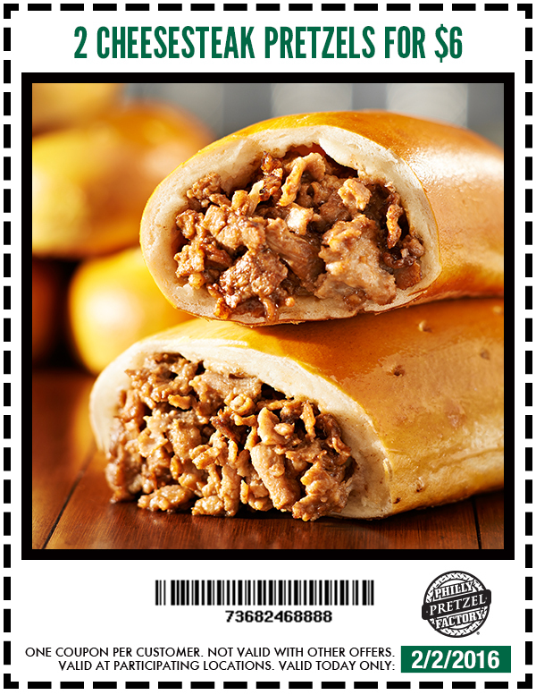 Philly Pretzel Factory Coupon December 2016 2 cheesesteak pretzels for $6 today at Philly Pretzel Factory