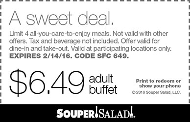 Souper Salad Coupon April 2017 Bottomless buffet for $6.49 at Souper Salad restaurants