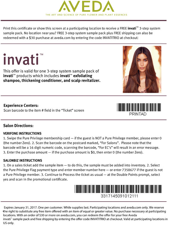 Aveda Coupon December 2016 Free Sample: Aveda hair kit in-store