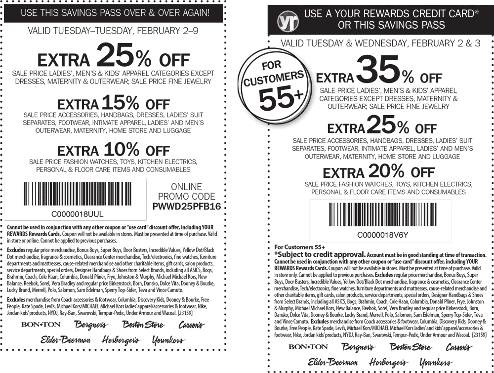 Carsons Coupon June 2018 Extra 25% off sale apparel at Carsons, Bon Ton & sister stores, or online via promo code PWWD25PFB16