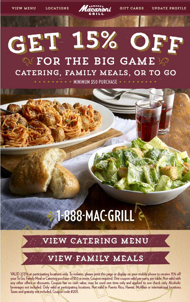 Macaroni Grill Coupon February 2017 15% off $50 Sunday at Macaroni Grill