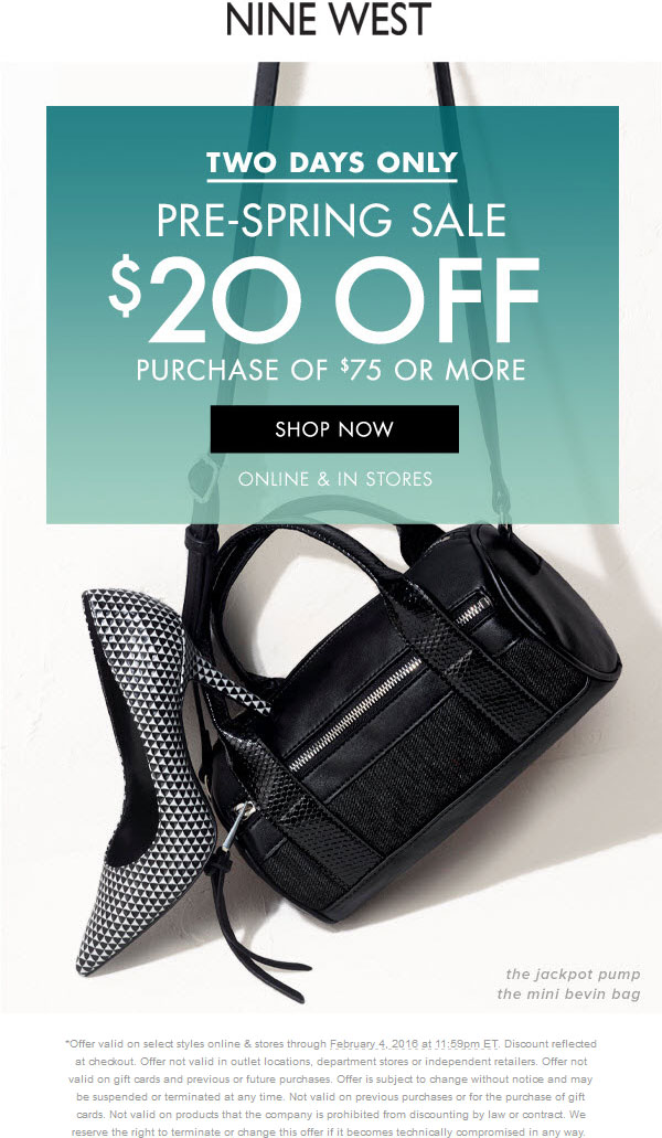 Nine West Coupon November 2017 $20 off $75 at Nine West, ditto online
