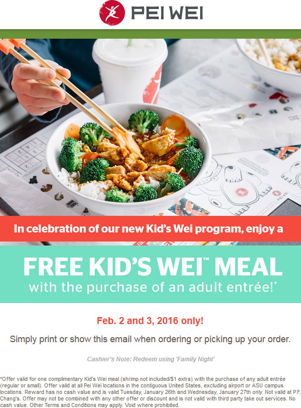 Pei Wei Coupon March 2017 Free kids meal with yours today at Pei Wei Asian diner
