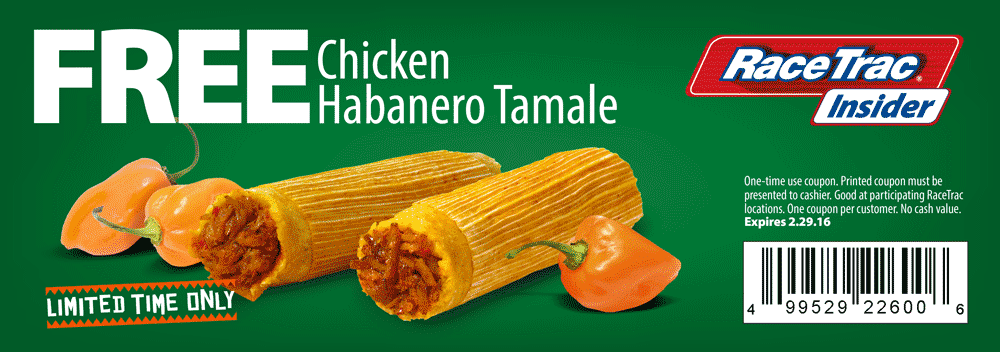 RaceTrac Coupon July 2017 Chicken habanero tamale free at RaceTrac gas stations