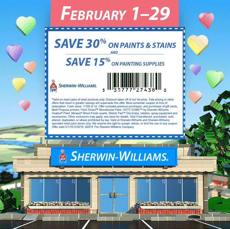 Sherwin Williams Coupon May 2019 30% off paints & stains at Sherwin-Williams