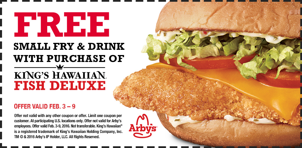 Arbys Coupon February 2017 Fries & drink free with your fish deluxe at Arbys