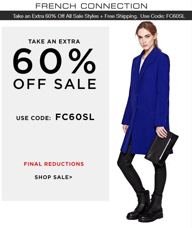 French Connection Coupon May 2018 Extra 60% off sale items online at French Connection via promo code FC60SL