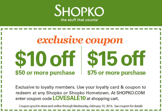Shopko Coupon June 2018 $10 off $50 at Shopko, or online via promo code LOVESALE10