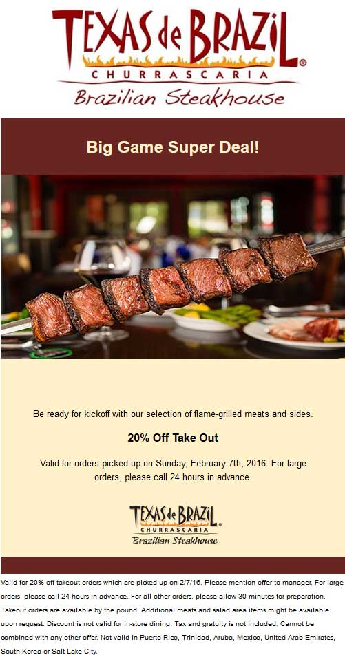 Texas de Brazil Coupon January 2017 20% off takeout Sunday at Texas de Brazil steakhouse
