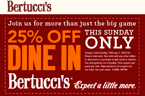 Bertuccis Coupon October 2017 25% off Sunday at Bertuccis restaurants