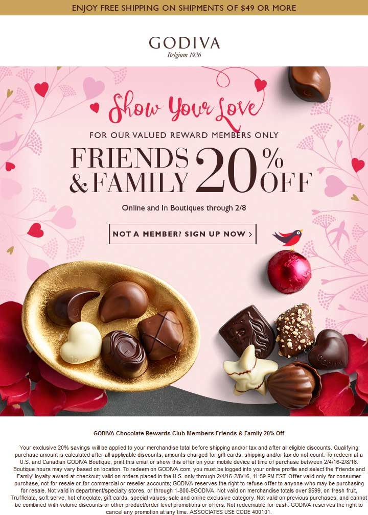 Godiva Coupon February 2017 20% off at Godiva chocolates, ditto online after login