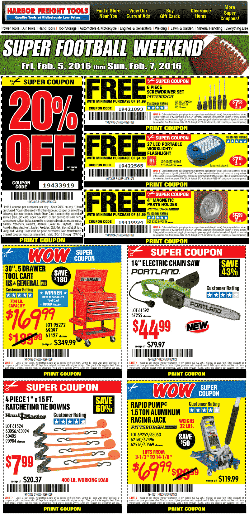 Harbor Freight Coupon October 2016 20% off a single item & more at Harbor Freight Tools