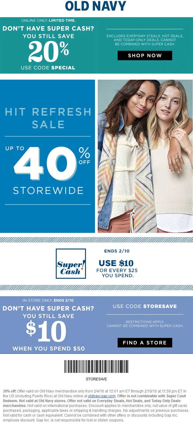 Old Navy Coupon June 2017 20% off at Old Navy, or online via promo code SPECIAL