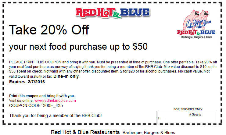 Red Hot & Blue Coupon May 2018 20% off your meal at Red Hot & Blue restaurants