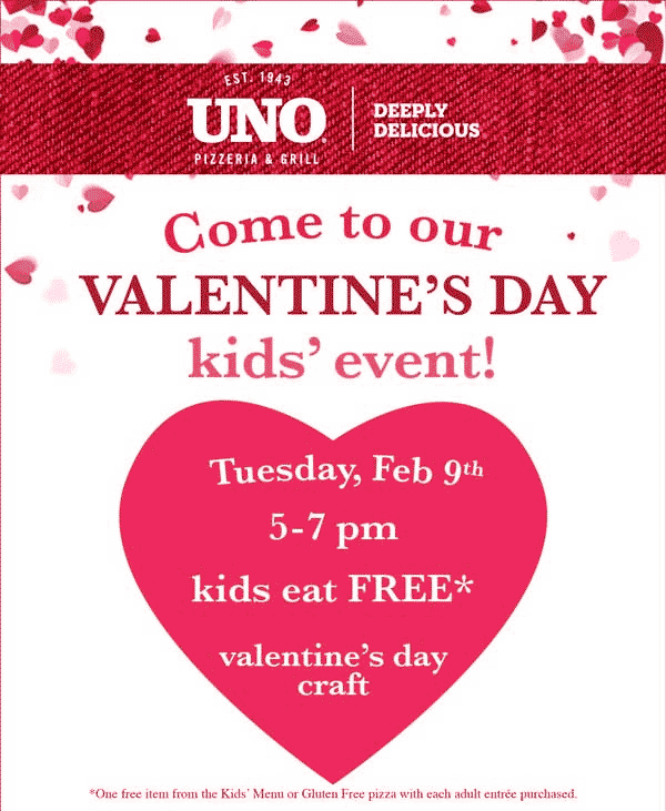Uno Pizzeria Coupon February 2017 Free kids meal with yours Tuesday at Uno pizzeria & grill