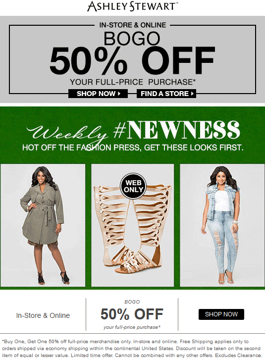 Ashley Stewart Coupon December 2018 Second item 50% off at Ashley Stewart, ditto online