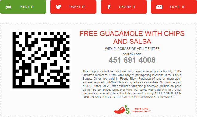 Chilis Coupon April 2017 Guacamole, chips & salsa free with your entree at Chilis