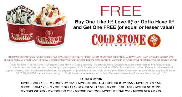 Cold Stone Creamery Coupon May 2018 Second ice cream free at Cold Stone Creamery