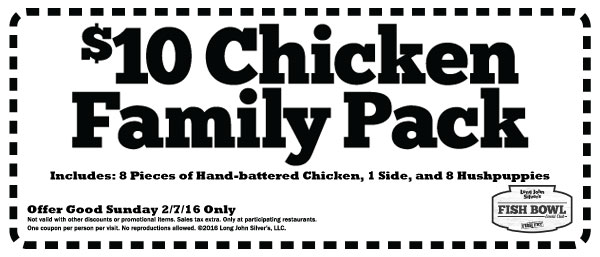 Long John Silvers Coupon January 2019 8pcs chicken + 8 hushpuppies + side = $10 Sunday at Long John Silvers