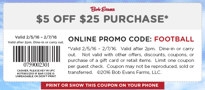 Bob Evans Coupon April 2019 $5 off $25 today at Bob Evans