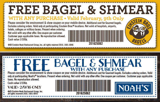 Einstein Bros Bagels Coupon January 2018 Free bagel & shmear Tuesday at Noahs Bagels & Einstein Bros Bagels