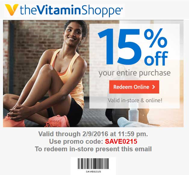 The Vitamin Shoppe Coupon June 2017 15% off at The Vitamin Shoppe, or online via promo code SAVE0215