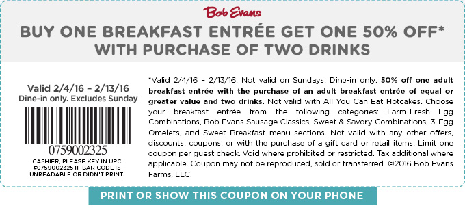 Bob Evans Coupon July 2017 Second breakfast 50% off at Bob Evans