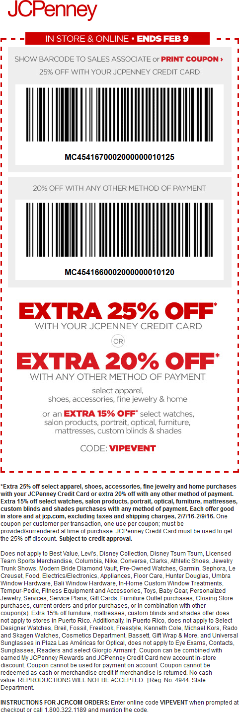 JCPenney Coupon December 2016 20% off at JCPenney, or online via promo code VIPEVENT
