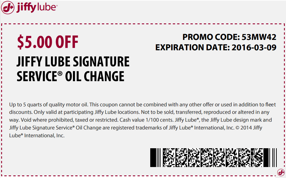 Jiffy Lube Coupon March 2018 $5 off an oil change at Jiffy Lube
