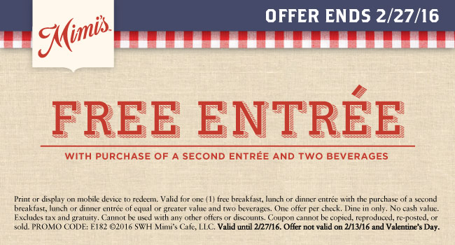 Mimis Cafe Coupon February 2018 Second entree free at Mimis Cafe