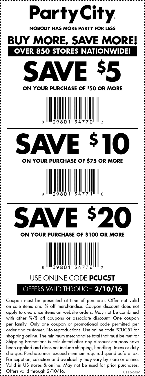 Party City Coupon January 2017 $5-$20 off $50+ at Party City, or online via promo code PCUC5T