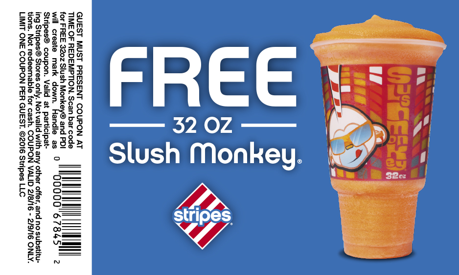 Stripes Coupon January 2018 32oz slushie free at Stripes gas stations