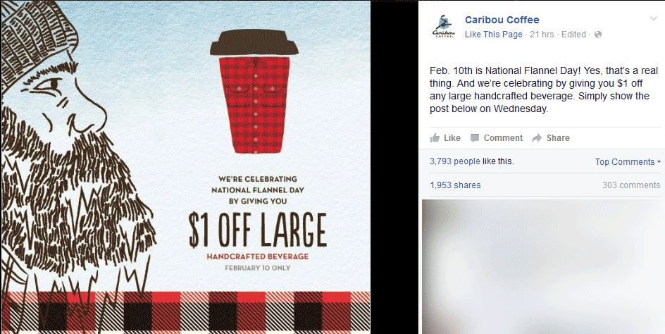 Caribou Coffee Coupon February 2017 Shave a buck of your large at Caribou Coffee
