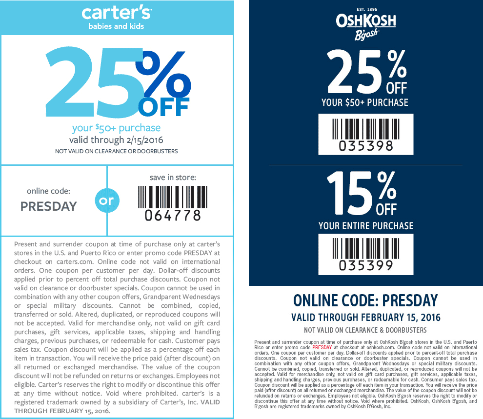 Carters Coupon November 2017 25% off $50 at OshKosh Bgosh & Carters, or online via promo code PRESDAY