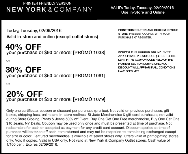 New York & Company Coupon February 2018 20-40% off $30+ today at New York & Company, or online via promo code 1079