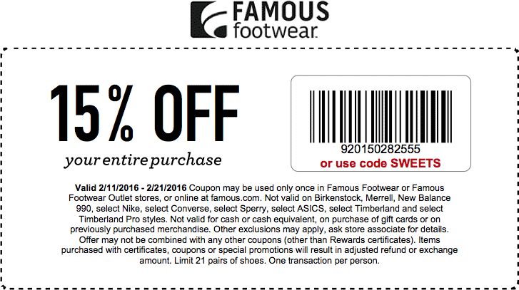 Famous Footwear Coupon April 2017 15% off at Famous Footwear, or online via promo code SWEETS