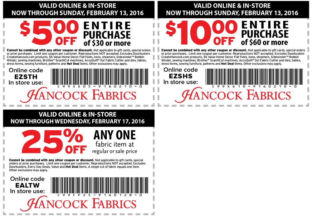 Hancock Fabrics Coupon April 2017 $5 off $30 & more at Hancock Fabrics, or online via promo code EZSTH