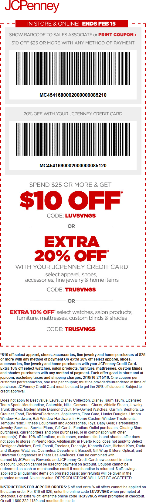 JCPenney Coupon February 2017 $10 off $25 at JCPenney, or online via promo code LUVSVNGS