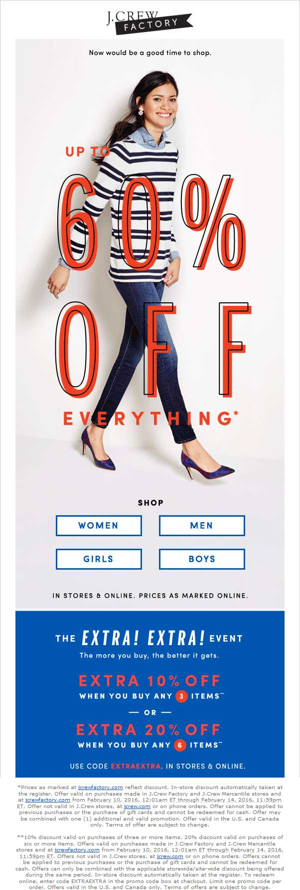 J.Crew Factory Coupon July 2018 Extra 20-60% off everything at J.Crew Factory, or online via promo code EXTRAEXTRA