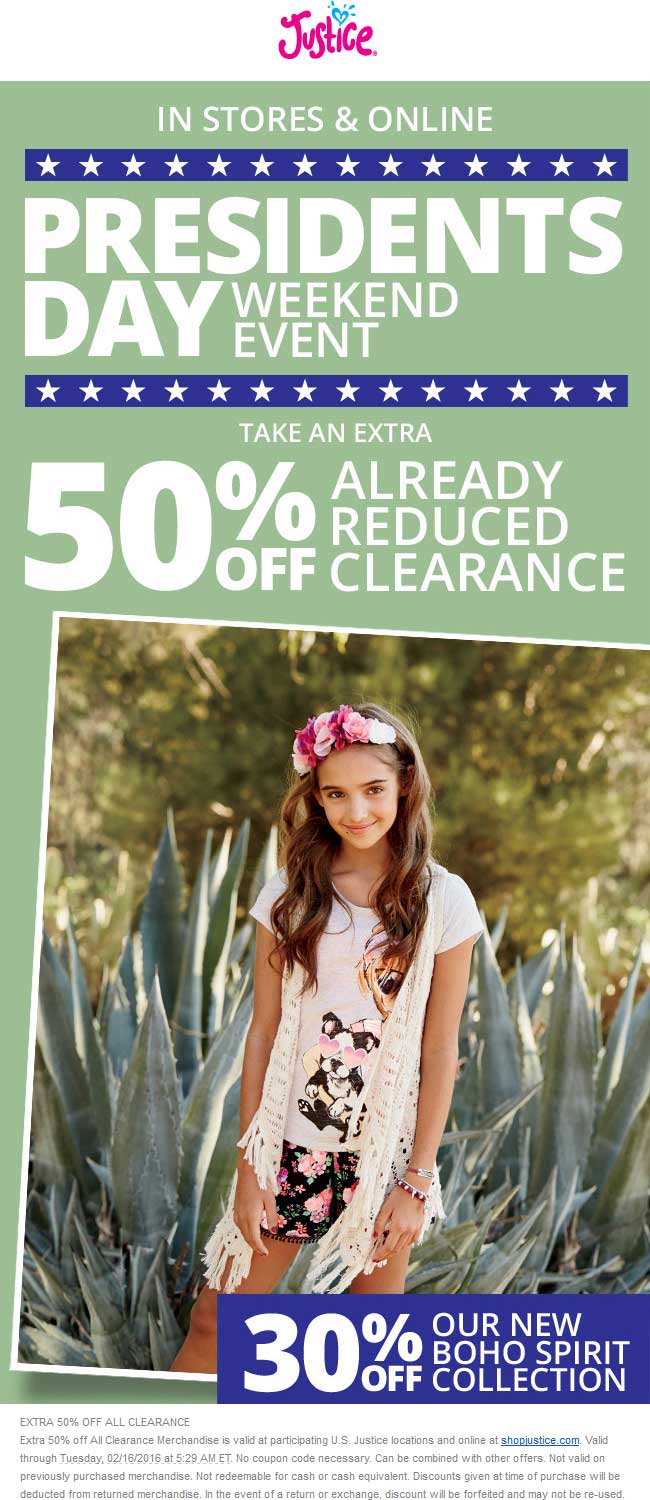 Justice Coupon October 2016 Extra 50% off clearance at Justice, ditto online