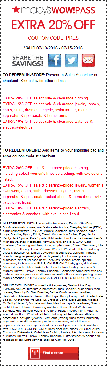 Macys Coupon May 2018 Extra 20% off at Macys, or online via promo code PRES