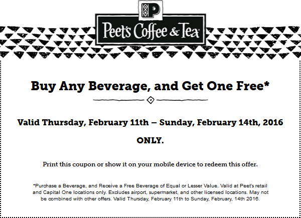 Peets Coffee & Tea Coupon January 2017 Second beverage free at Peets Coffee & Tea