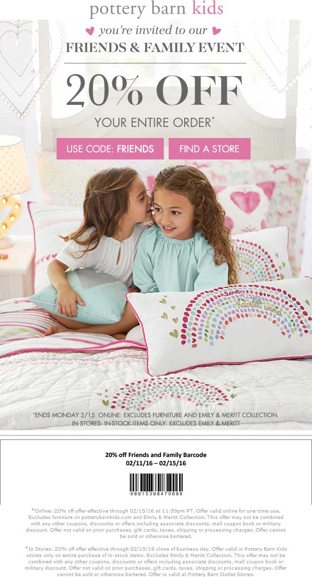 Pottery Barn Kids Coupon April 2017 20% off at Pottery Barn Kids, or online via promo code FRIENDS