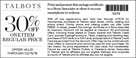 Talbots Coupon November 2017 30% off a single item at Talbots, or online via promo code FEB30