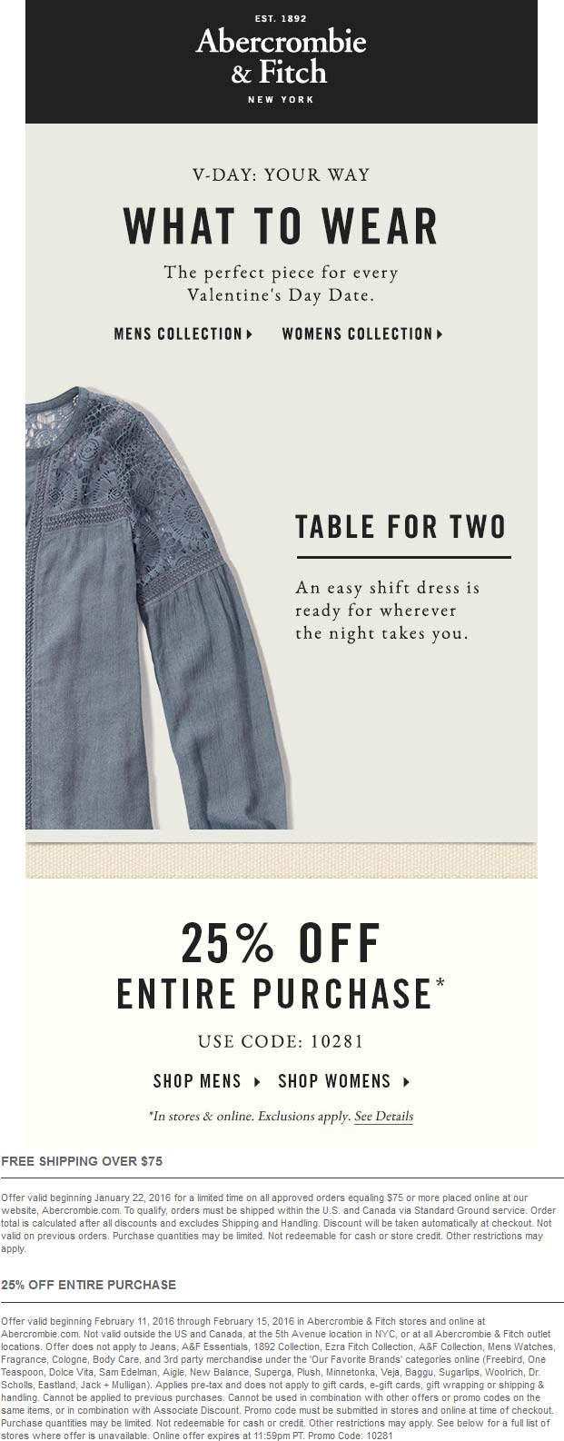 Abercrombie & Fitch Coupon December 2016 25% off at Abercrombie & Fitch, or online via promo code 10281