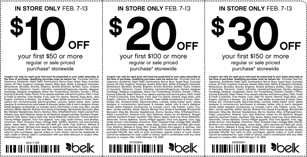 Belk Coupon May 2017 $10 off $50 & more at Belk, or online via promo code 93944309