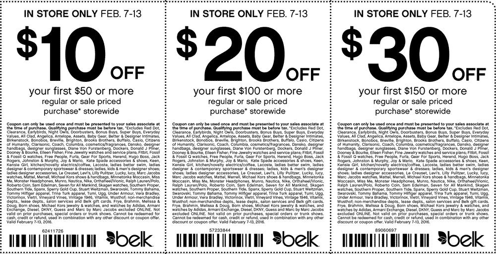 Belk Coupon October 2016 $10 off $50 & more at Belk, or online via promo code 93944309