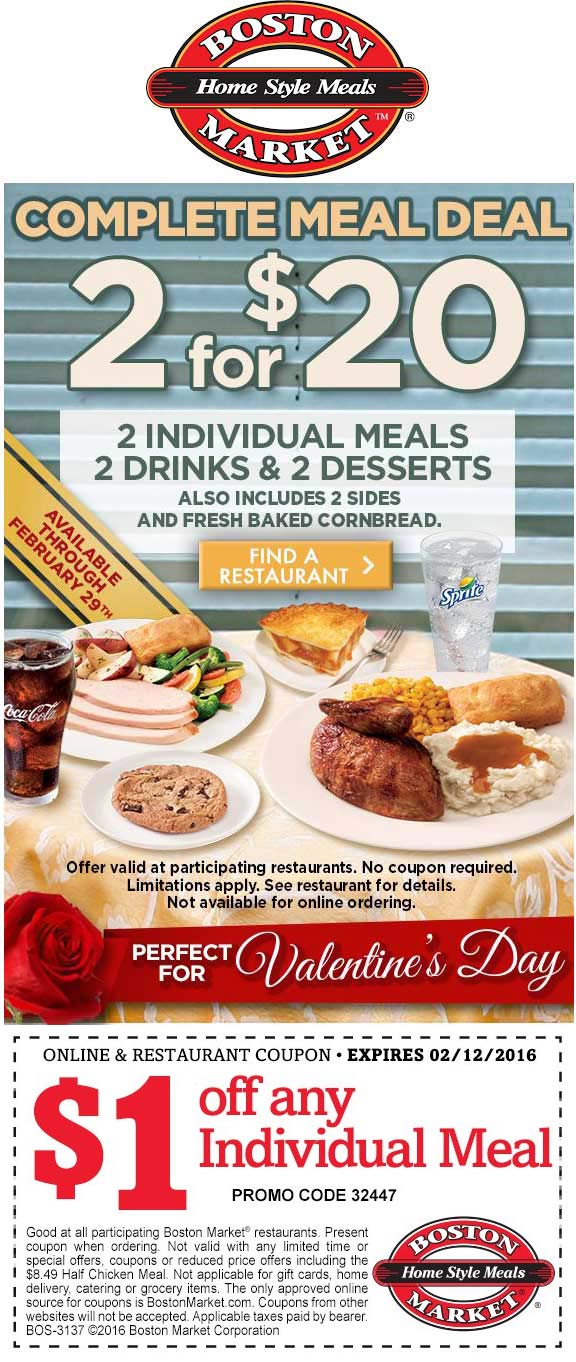 Boston Market Coupon January 2019 2 meals + 2 drinks + 2 desserts = $20 at Boston Market
