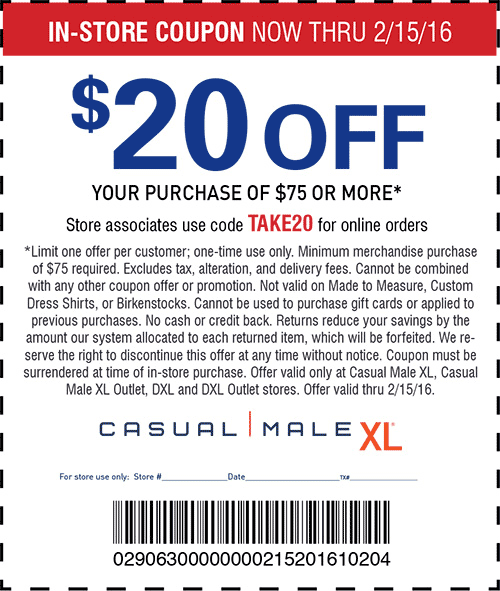 Casual Male XL Coupon March 2018 $20 off $75 at Casual Male XL, or online via promo code TAKE20